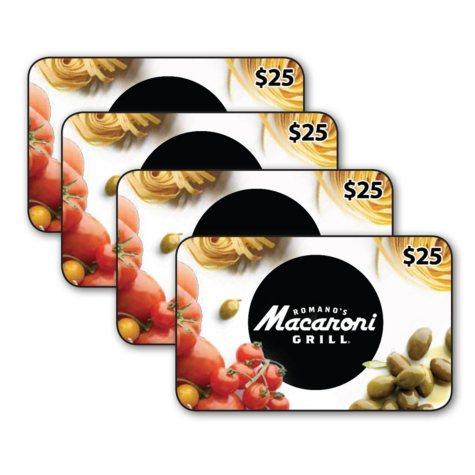 Romano's Macaroni Grill $100 Value Gift Cards - 4 x $25