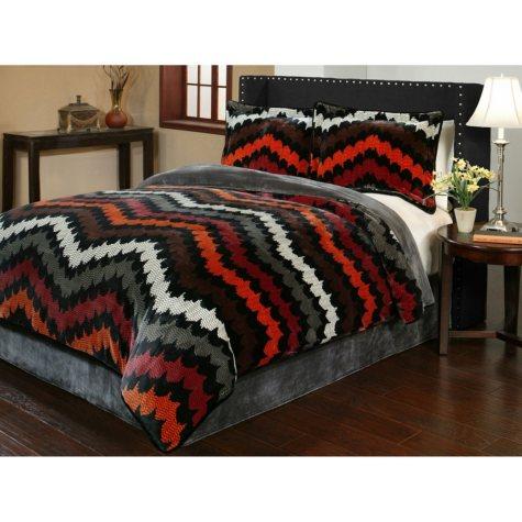 Sun-Yin Velvet Plush Fedora Comforter Set, 3-piece
