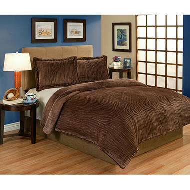 Sun-Yin Velvet Plush Lodge Comforter Set, 3-piece