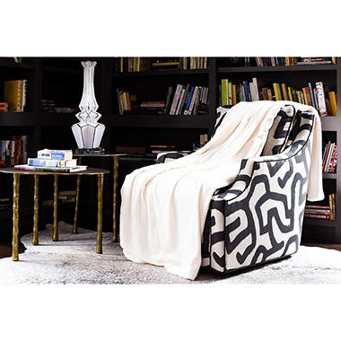 Fraiche Maison Hot Pressed Velvet Plush Blanket, Oatmeal
