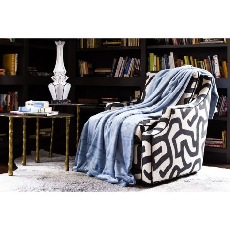 Fraiche Maison Hot Pressed Velvet Plush Blanket, Faded Denim