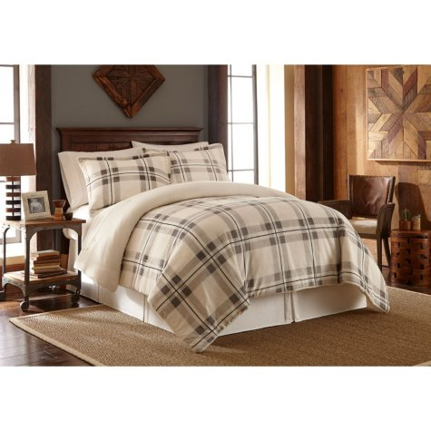 Sun-Yin Velvet Plush Ivory Cabin Plaid Comforter Set, 3-piece
