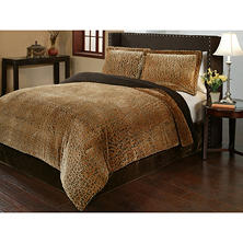 Sun-Yin Velvet Plush Cheetah Comforter Set, 3-piece