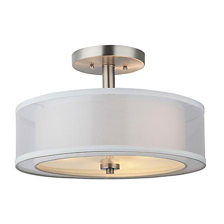 Hardware House El Dorado Semi-Flush Ceiling Light Fixture - Satin Nickel