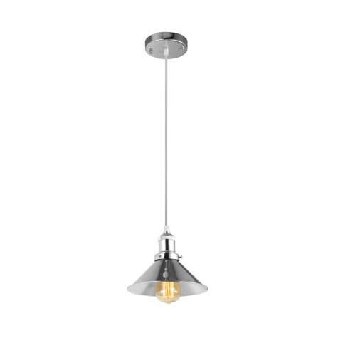 Hardware House Industrial Saucer Pendant Light Fixture - Polished Nickel