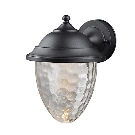 Hardware House Small LED Lantern with Clear Bubble Glass - Textured Black