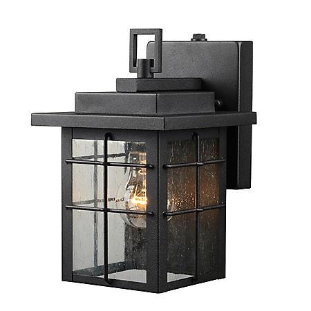 Hardware House Wall-Mounted Dusk-to-Dawn Lantern - Textured Black