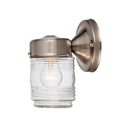Hardware House Outdoor Jelly Jar Light - Satin Nickel