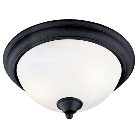 Hardware House Tuscany 2-Light Flush Mount Ceiling Fixture - Textured Black