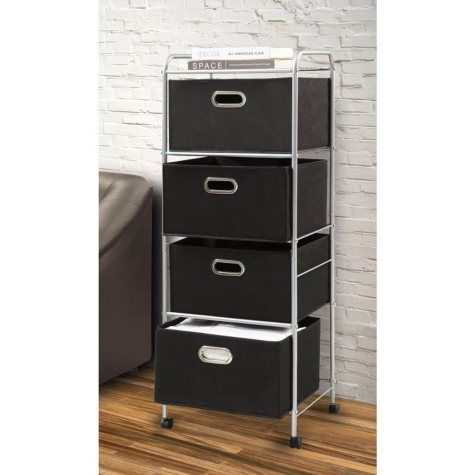 Bintopia 4-Bin Storage Cart, Black
