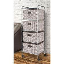 Bintopia 4-Drawer Decorative Fabric Cart