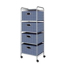 Bintopia 4-Drawer Trolley Cart, Geometric Navy