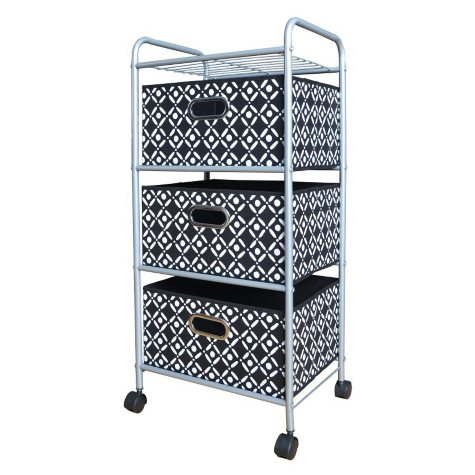 Bintopia 3-Drawer Decorative Fabric Cart