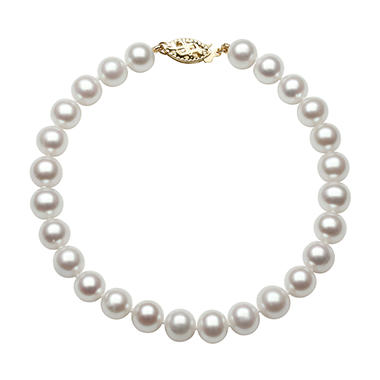 6.0-7.0mm Cultured Fresh Water Pearl Bracelet in  14K Yellow Gold