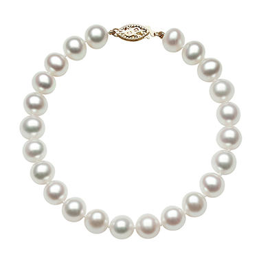 8.0-9.0mm Cultured Freshwater Pearl Bracelet in 14K Yellow Gold