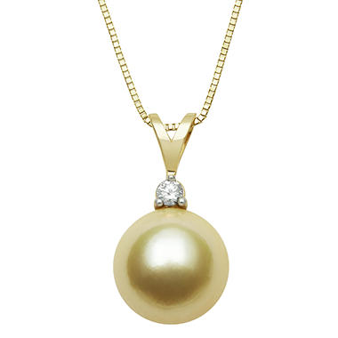 9.0-10.0mm Golden South Sea Pearl with Diamond accent Pendant in 14K Yellow Gold