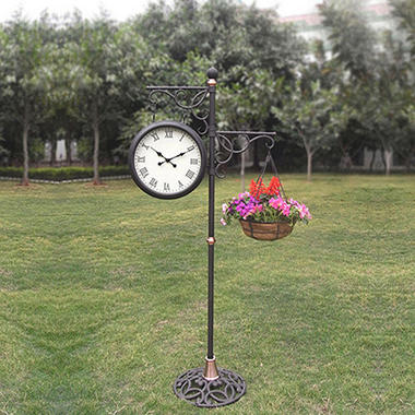 Outdoor Standing Clock With Planter