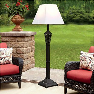 Wicker Patio Floor Lamp