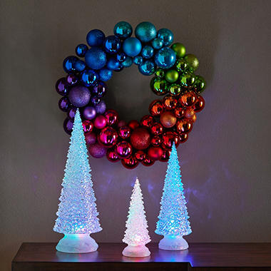 3 piece color changing led tree set with remote control