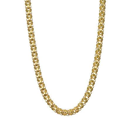 14k Yellow Gold Mirror Cut Popcorn Chain