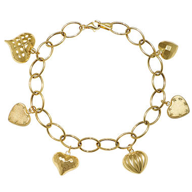 14k Yellow Gold Diamond Cut And Polished Puff Heart Charm Bracelet