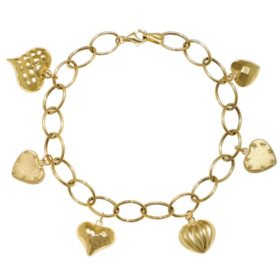 14K Yellow Gold Diamond Cut and Polished Puff Heart Charm Bracelet