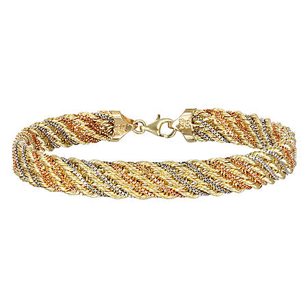 14k Tricolor Gold Woven Rope and Box Chain Bracelet