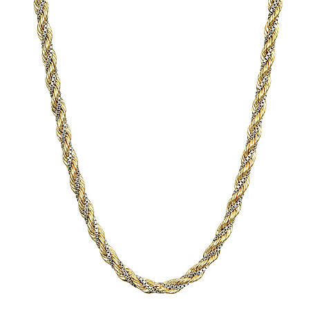 14K Two-Tone Twist Rope and Box Chain Necklace