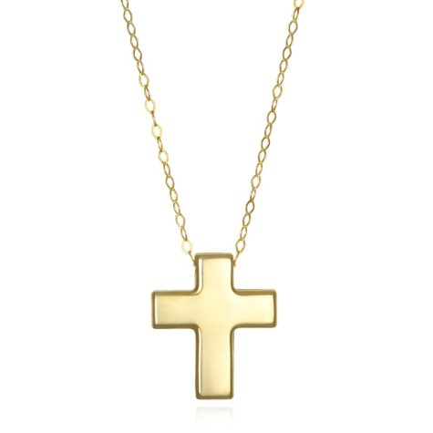 Floating Cross Necklace in 14K Yellow Gold