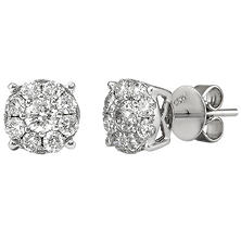 1.00 CT. TW. Round Cut Diamond Stud Earrings in 14K White Gold  H-I, I1