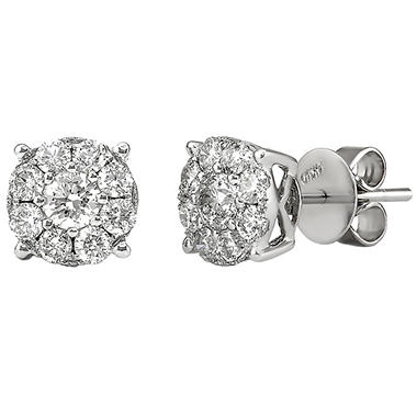 Round Cut Diamond Stud Earrings In 14k White Gold