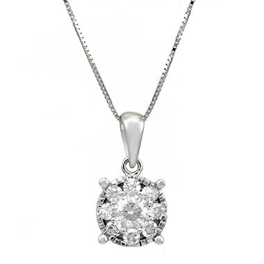 50 Ct T W Diamond Pendant In 14k White Gold Hi I1