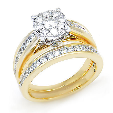 1.29 CT. T.W. Diamond Composite Wedding Ring Set in 14K Yellow Gold I/I1
