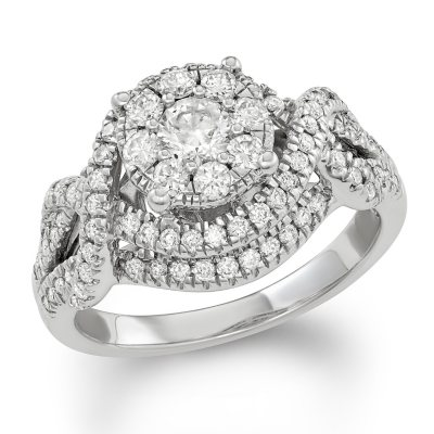 120 CT TW Diamond Composite Engagement Ring in 14K White Gold