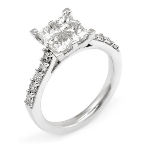 2.00 CT.T.W. Diamond Composite Princess Engagement Ring in 14K White Gold (I,I1)