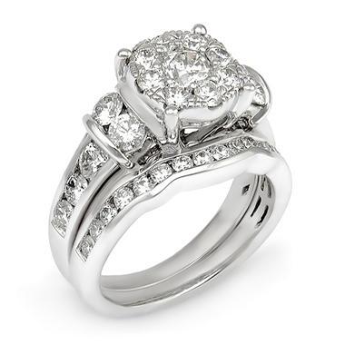 T W Diamond Composite Engagement Ring Set In 14k White Gold I
