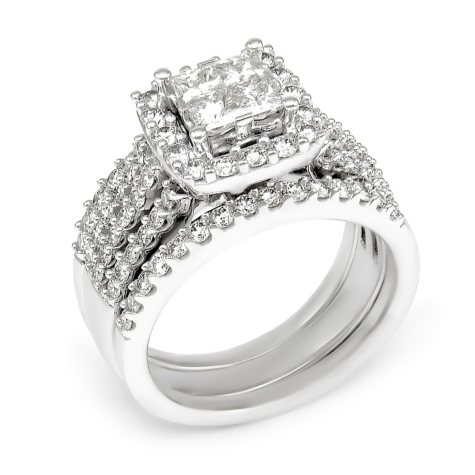 2.00 CT.T.W. Diamond Composite Princess Engagement Ring in 14K White Gold (I/I1)