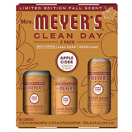 Mrs. Meyer's Clean Day Kitchen Basics Set, Cleaning Supplies 44.5oz , 3 Count Pack (Choose Your Fall Scent)