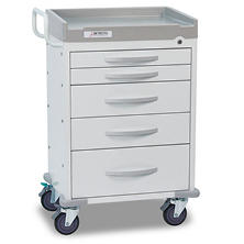 Detecto Rescue Series General Purpose Medical Cart with Five White Drawers