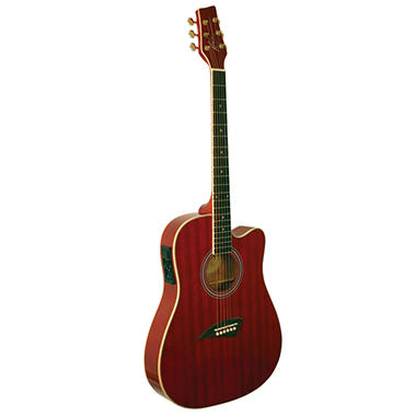kona thin body acoustic electric guitar with high gloss transparent red finish sam 39 s club. Black Bedroom Furniture Sets. Home Design Ideas