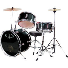 GP Percussion Complete 3-Piece Junior Drum Set - Black