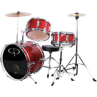 GP Percussion Complete 3-Piece Junior Drum Set - Metallic Red