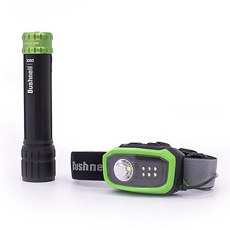 Bushnell Rechargeable 1000 Lumen Flashlight and Rechargeable 300 Lumen Headlamp Combo
