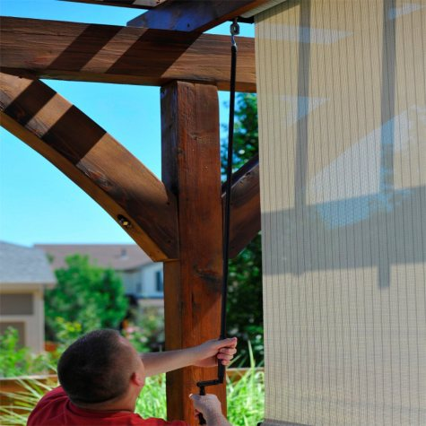 Crank Operated Solar Shade, Fabric Color - Tropic Bahama