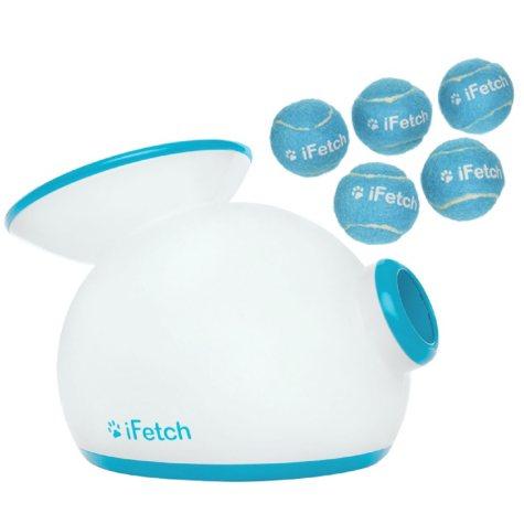 iFetch Dog Ball Launcher and 5-Pack Miniature Tennis Balls Bundle