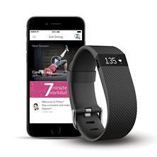 Fitbit Charge HR + FitStar Personal Training Bundle - Small or Large