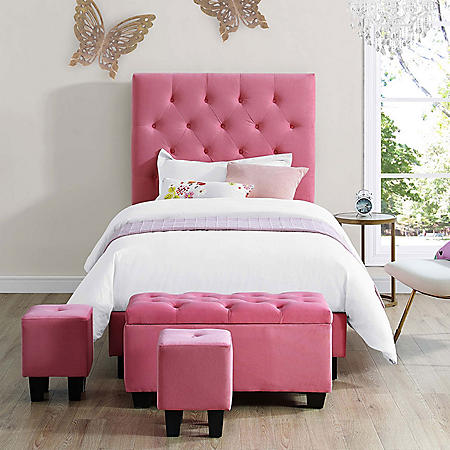 Faye Twin Upholstered Bed with Ottoman Set - Pink