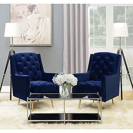 Reese Button Tufted Accent Chair With Gold Legs Navy