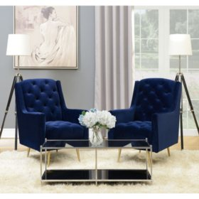 Reese Button-Tufted Accent Chair with Gold Legs - Navy Blue