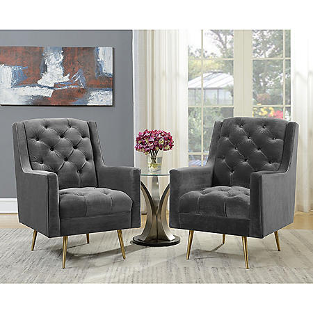 Reese Button-Tufted Accent Chair with Gold Legs - Slate